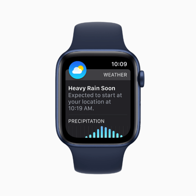 The redesigned Weather app supports Severe Weather notifications, delivers Next Hour precipitation alerts, and offers updated complications in watchOS 8.