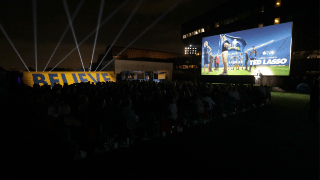 """A shot from the """"Ted Lasso"""" season two premiere in Los Angeles, CA."""