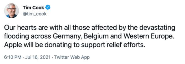 Tim Cook: Our hearts are with all those affected by the devastating flooding across Germany, Belgium and Western Europe. Apple will be donating to support relief efforts.