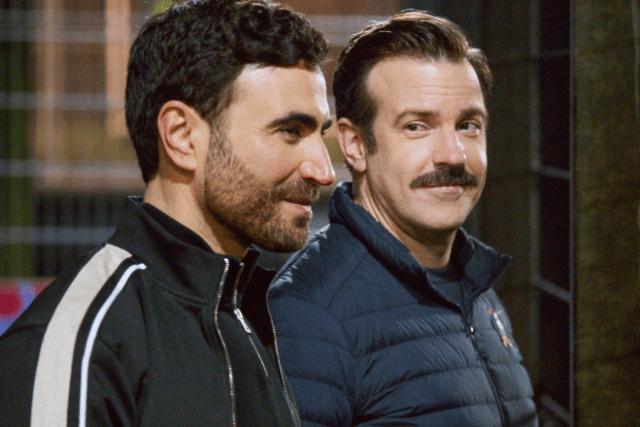 """Ted Lasso"" stars Brett Goldstein (Roy Kent) (left) and Jason Sudekis (Ted Lasso) (right)"