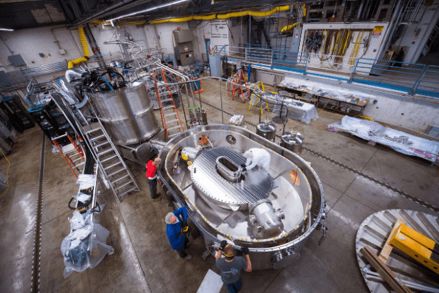 This large-bore, full-scale high-temperature superconducting magnet designed and built by Commonwealth Fusion Systems and MIT's Plasma Science and Fusion Center (PSFC) has demonstrated a record-breaking 20 tesla magnetic field. It is the strongest fusion magnet in the world. (Credit: Gretchen Ertl, CFS/MIT-PSFC, 2021)