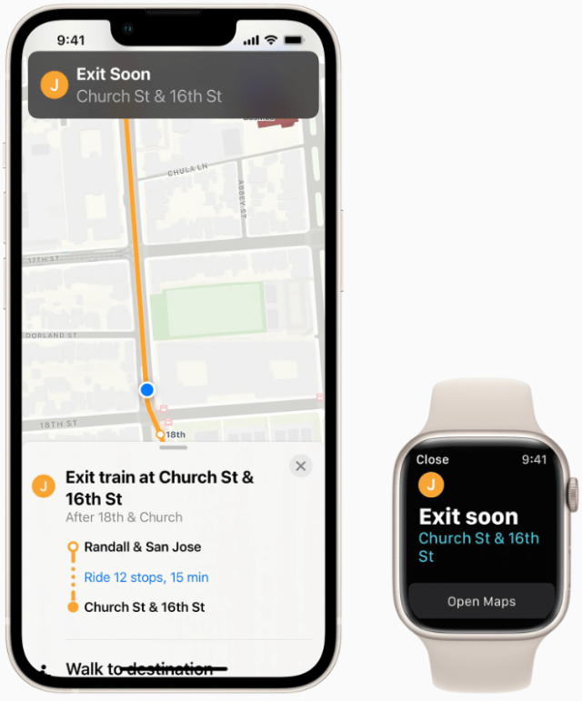 Maps automatically follows along a selected transit ride and now notifies users when they are nearing their desired stop, and riders can even keep track on their Apple Watch.