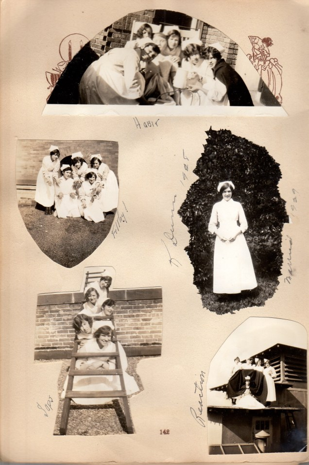 Nurses having fun - Eddie top right with cap, bottom right with cap and her nursing friends