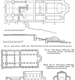 crypt basilica cari in grad plan of the atrium and crypt with section showing levels excavated [ 800 x 1072 Pixel ]