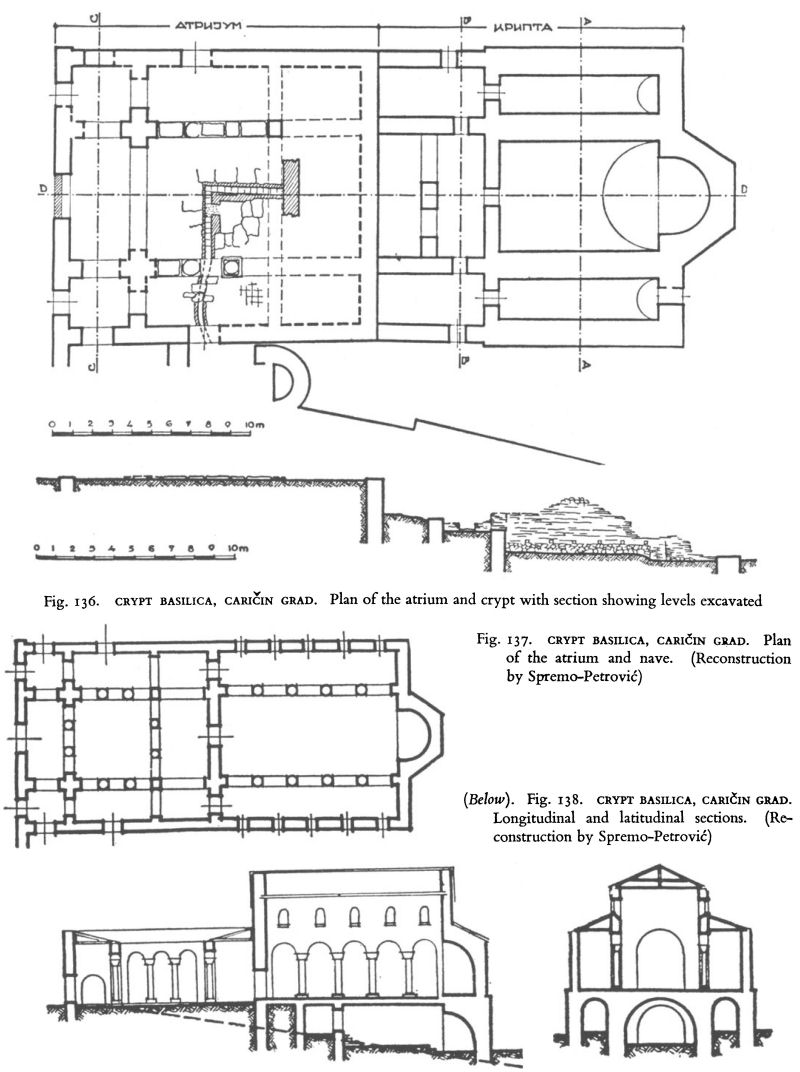 hight resolution of crypt basilica cari in grad plan of the atrium and crypt with section showing levels excavated