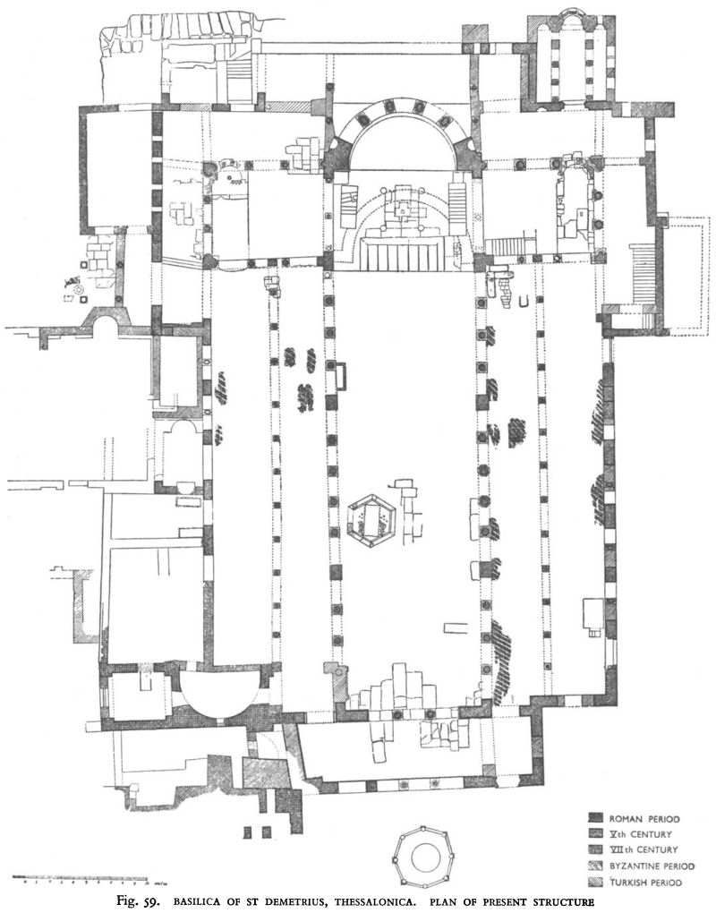 hight resolution of basilica of st demetrius thessalonica plan of present structure