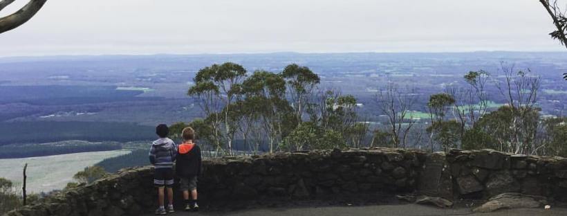 Two children looking out at the view at Major Mitchell Lookout Mount Macedon