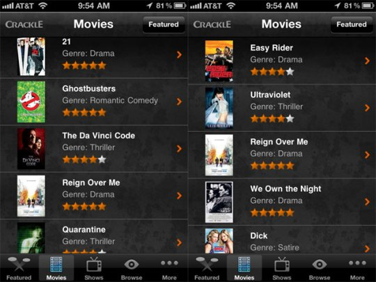 Sony's Crackle comes to the iPhone/iPad with less crappy content