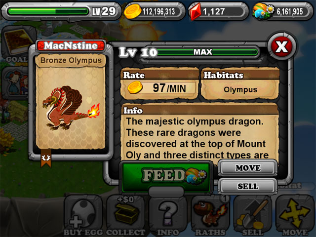 DragonVale OLYMPIC BRONZE Dragon