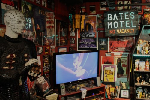 Much like his childhood bedroom, Martin has the walls of The Lobby plastered with movie memorabilia.