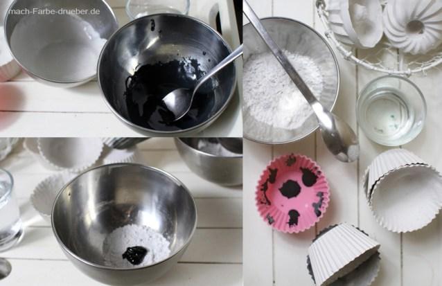 Gips Muffinförmchen mit farbigen Mustern