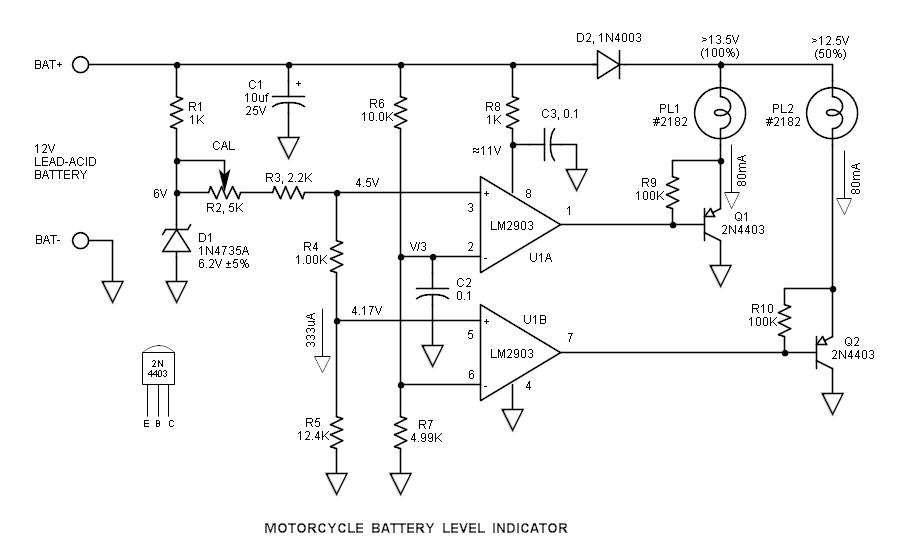 Mạch báo dung lượng bình ắc quy 12V bằng 2 đèn led