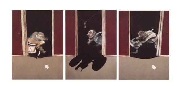 """Triptych May-June"", 1973. Olej na płótnie, każdy obraz 198-147. Kolekcja prywatna, Szwajcaria. Źródło: http://1.bp.blogspot.com/_N0TSGcQUzgU/SxJwlIMEJmI/AAAAAAAACLA/EAQBmStQaTY/s1600/FBacon_triptych_May-June_1973.jpg"