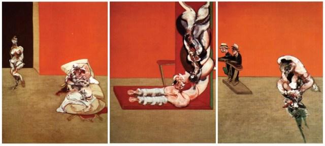 """""""Crucifiction"""", 1965. Tryptyk, olej na płótnie, każdy obraz 198x147 cm, Bayerische Staatsgemäldesammlungen, Monachium."""