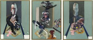 """""""Triptych"""", 1976. Olej i pastel na płótnie, 198x147,5 cm, każdy obraz 198x147,5, kolekcja prywatna."""