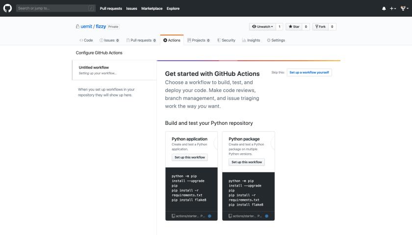 GitHub hat erkannt, dass wir mit Python arbeiten und bietet uns passende Workflows an.