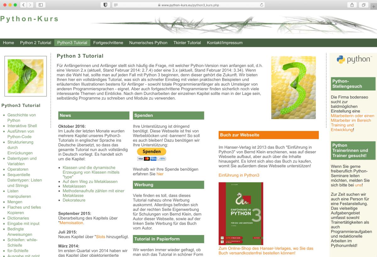 Lernen: Kostenloser Online-Kurs zu Python 3