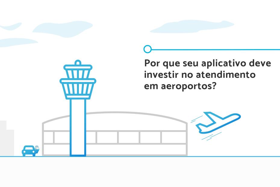 Ilustração de um avião decolando do aeroporto. Na entrada do prédio, um carro.