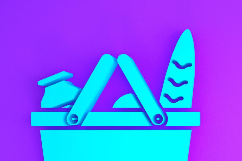 cesta de mercado com leite e pão ilustrados azul e fundo roxo
