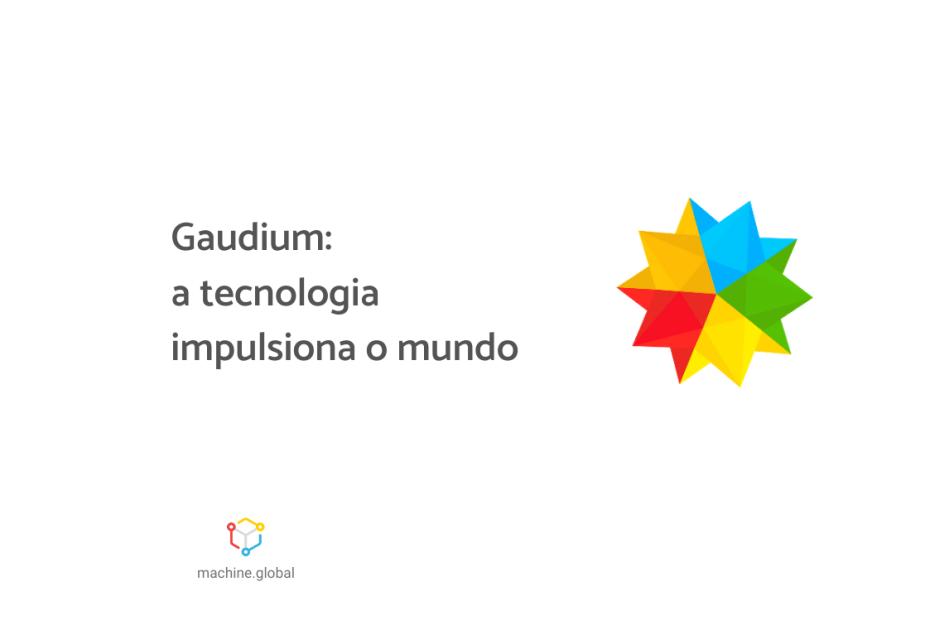 """Logo da Gaudium, ao lado está escrito """"Gaudium: a tecnologia impulsiona o mundo""""."""
