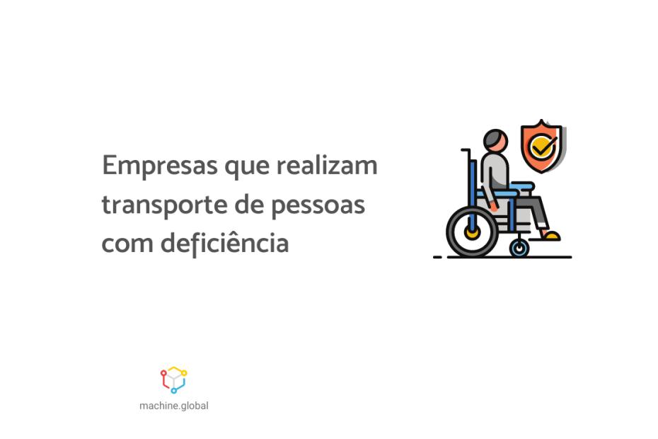 """Na ilustração temos uma pessoa usando cadeira de rodas e um sinal de verificado em sua frente. Ao lado está escrito """"Empresas que realizam transporte de pessoas com deficiência"""""""