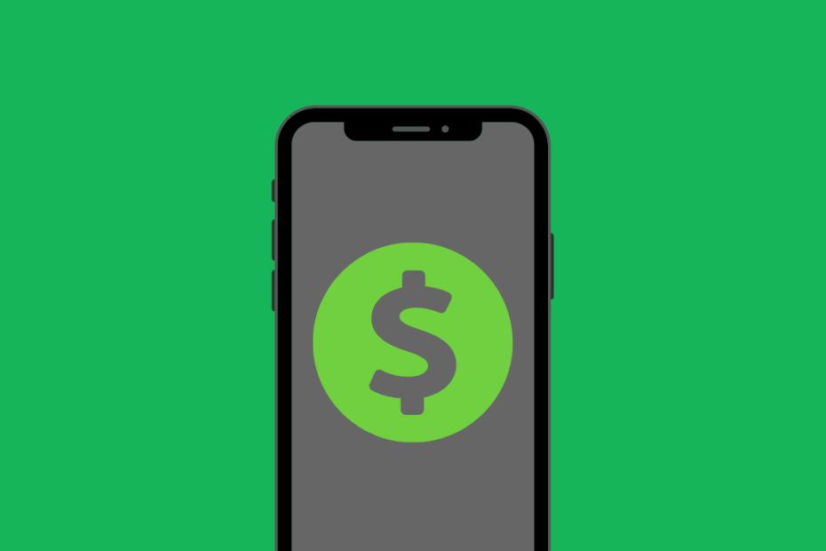 fundo verde com um celular com símbolo de dinheiro na tela