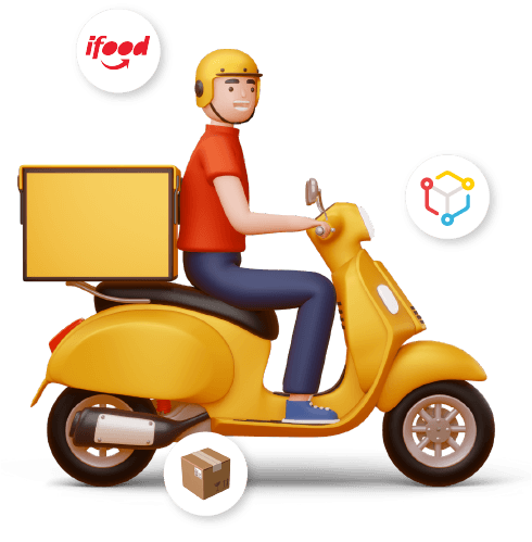 Entregador e logos do iFood, da Machine e uma caixa.