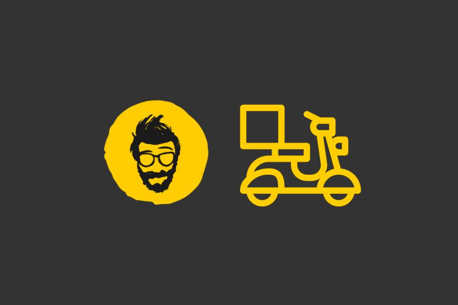 fundo cinza com o um círculo amarelo com um rosto de um homem barbado e uma moto ao lado