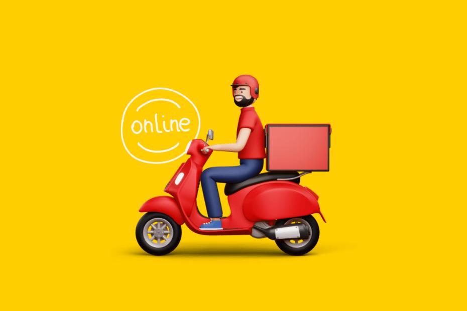 ilustração de um entregador na moto escrito online