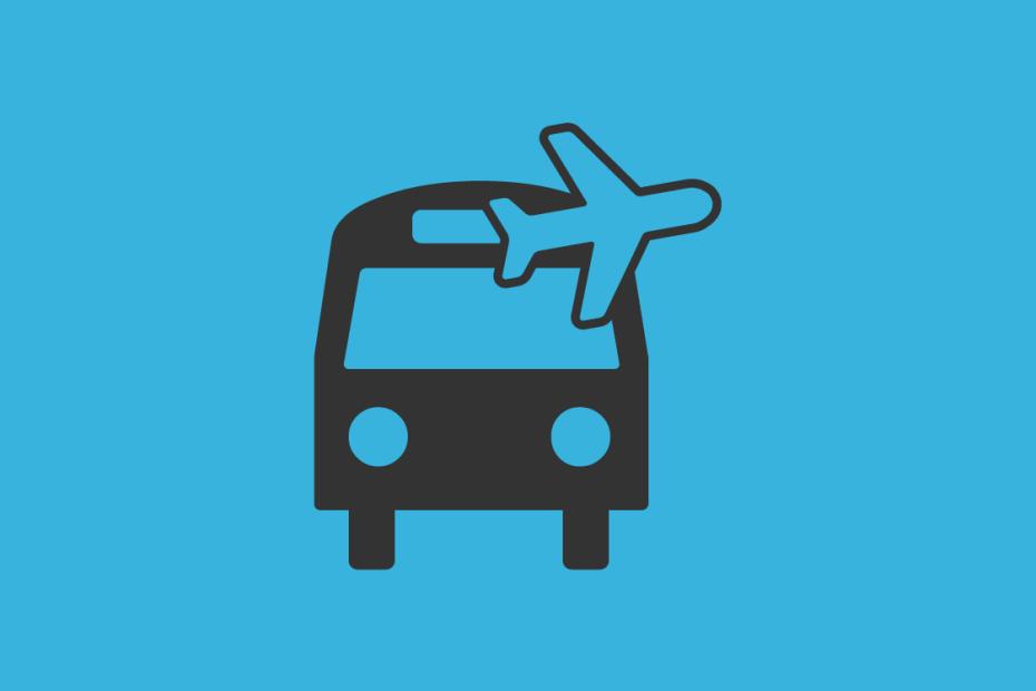 ilustração de um ônibus e um avião
