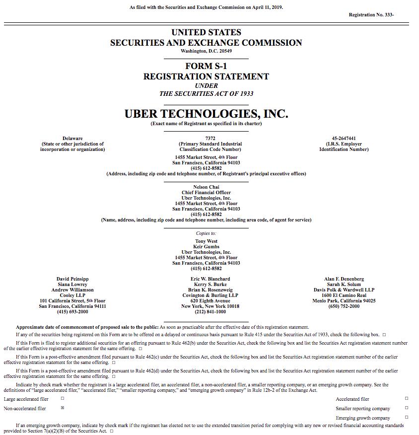 Documento da Uber para sua abertura de capital.