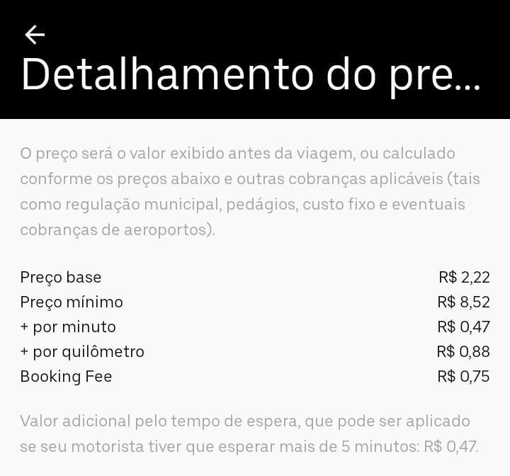 Detalhamento do preço da Uber Prioridade em Belém