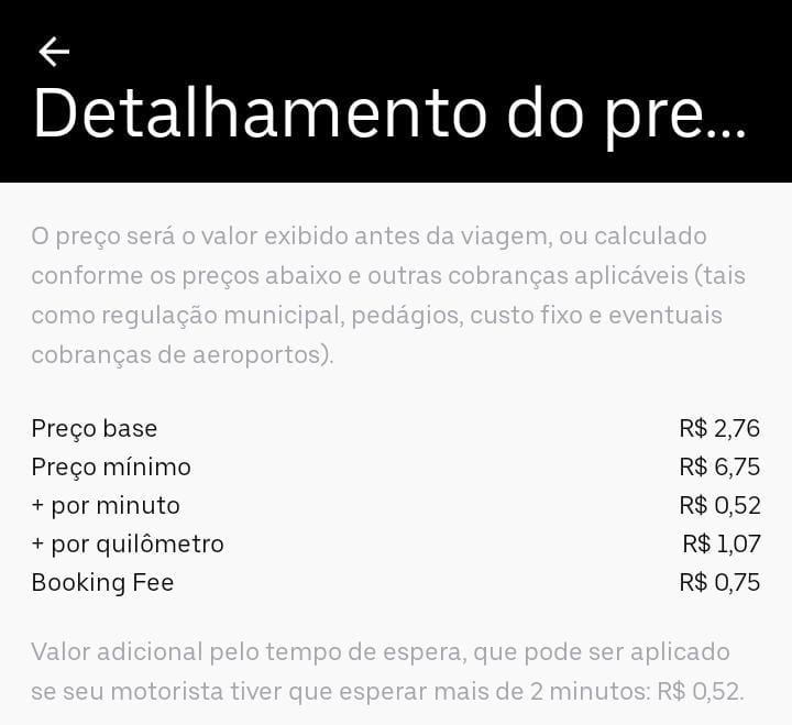 Detalhamento do preço da Uber Prioridade em Campinas