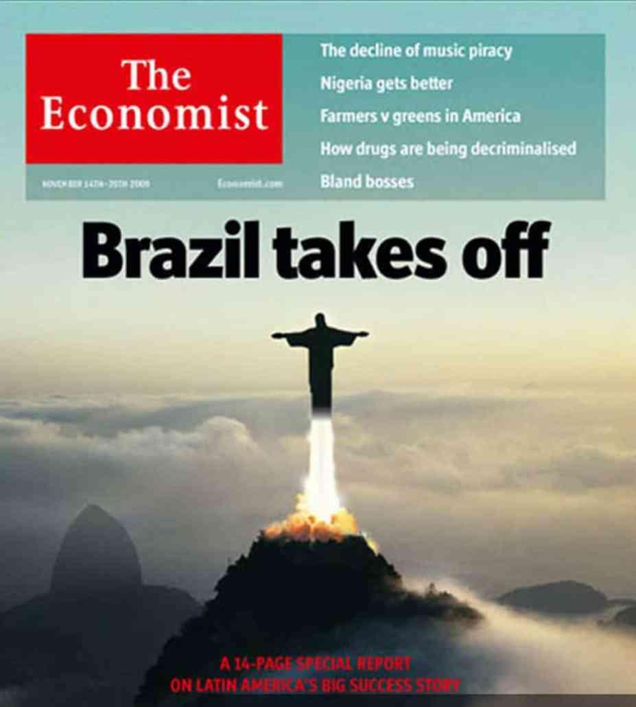 SAO PAULO ECONOMIA NEGOCIOS Capa da 'Economist' cristo redentor  FOTO REPRODUCAO