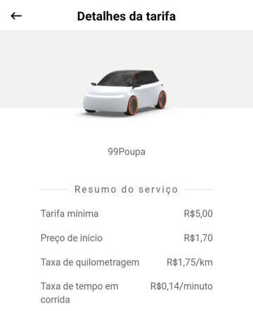 Captura de tela dos detalhes da tarifa do 99Poupa