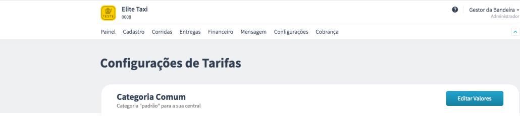 Configuração de tarifas na plataforma da Machine
