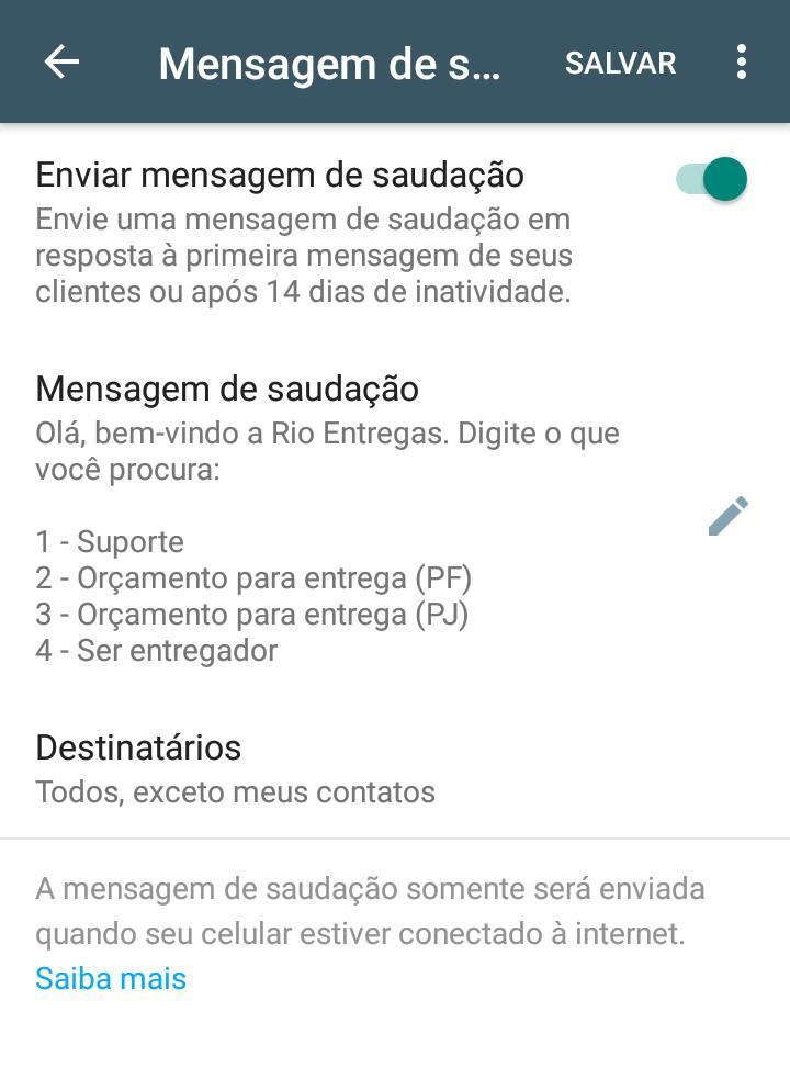 Mensagem de saudações no whatsapp
