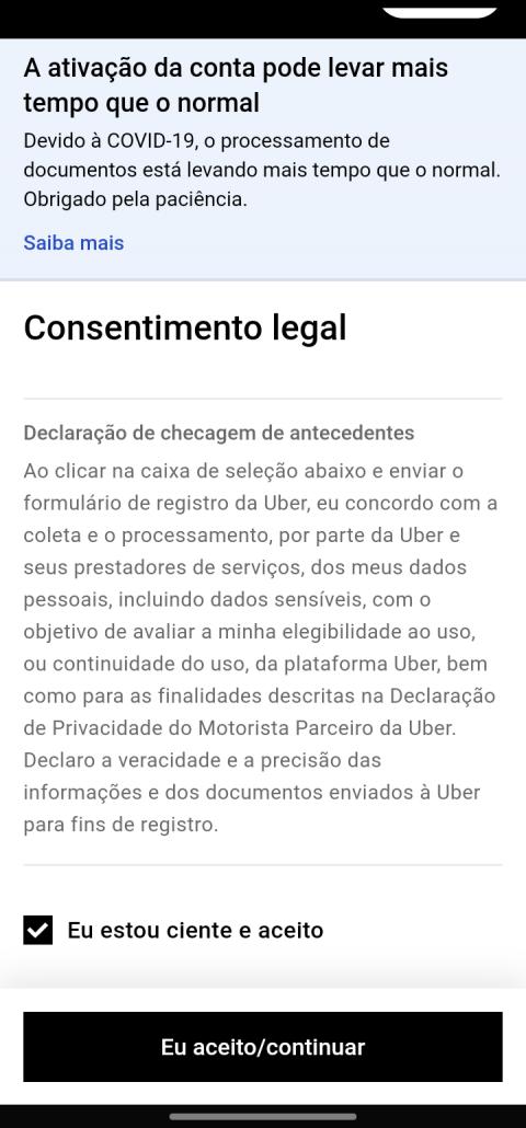 Consentimento legal para motoristas da Uber