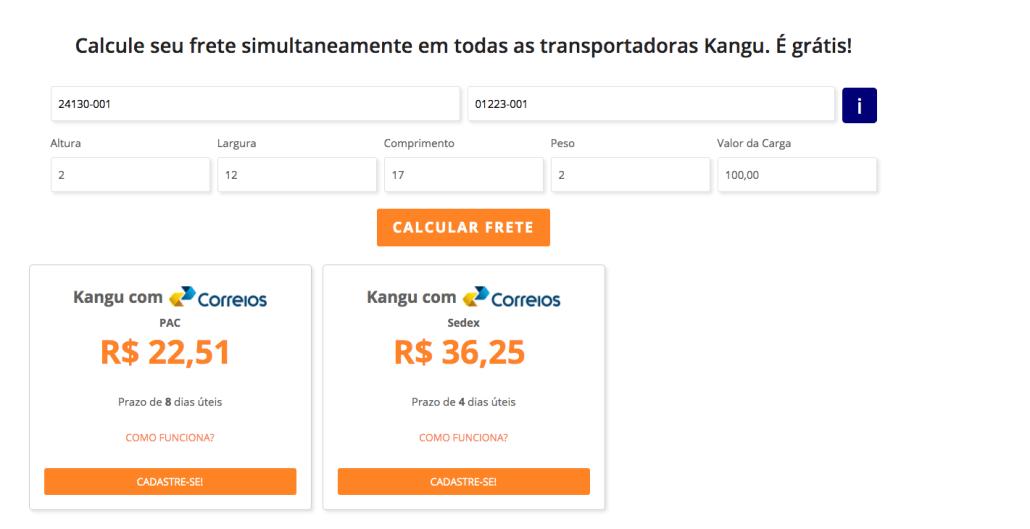 Tabela de preços da Kangu/Correios