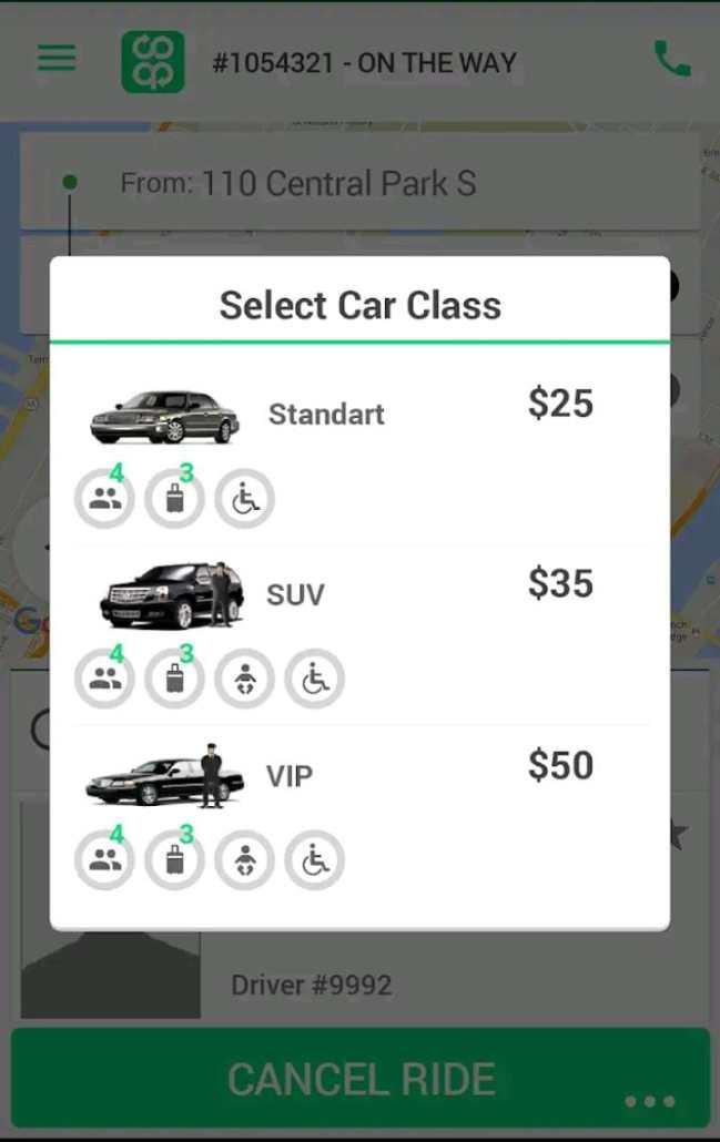 Tabela de preço do aplicativo da cooperativa dos motoristas de Nova Iorque