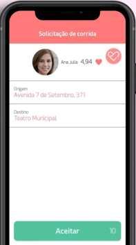 Captura de tela do aplicativo da Lady Driver