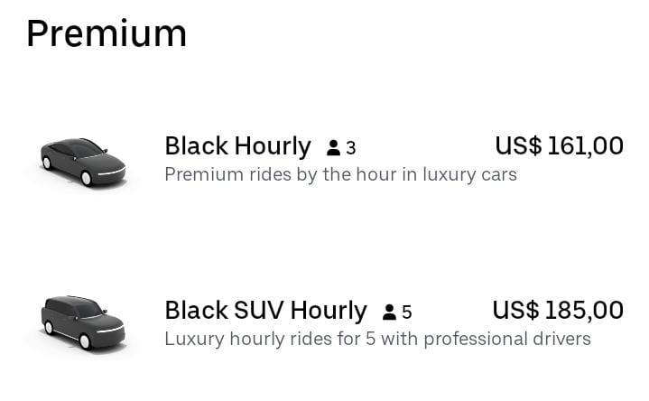 Preços do Uber Hourly