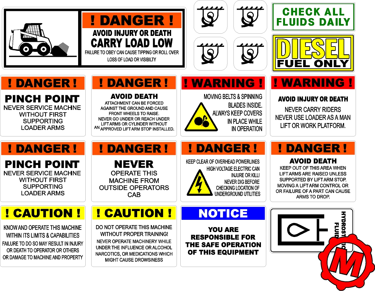 John Deere Air Compressor >> Skid loader Safety and Warning decal kit - Machine Decals