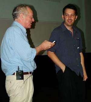 Robert Fisk with lecture organiser Antony Loewenstein
