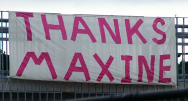 a home made pink gaffer tape banner in the Blue Mountains