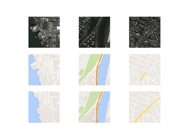 Plot of Satellite to Google Map Translated Images Using Pix2Pix After 100 Training Epochs