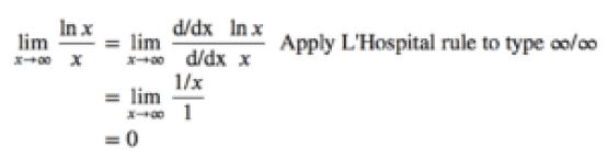 lim(𝑥→∞) ln(x)/x=0