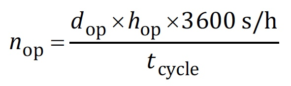 Formula for calculating nop - ISO 13849-1, Equation C.2.