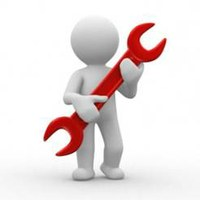 Figure holding a large red wrench