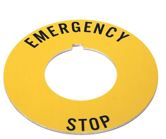 "Yellow circular legend plate with the words ""emergency stop"" in black letters. Fits A-B 800T pushbutton operators."